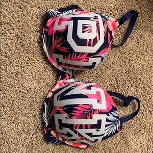 pink tropical print bra
